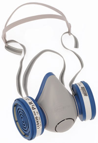 Spasciani Duetta félálarc, légzésvédő eszköz, pormaszk helyett festékszóráshoz, mérges gázok kiszűrésére, légzőálarc