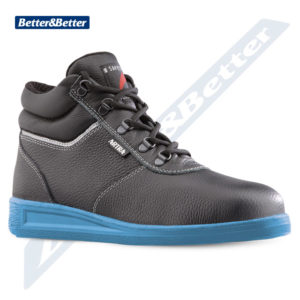 Artra aszfaltózáshoz használható munkavédelmi lábbeli, hővédő, hőálló, valódi marhabőr, kontakt hő ellen védett gumitalp.