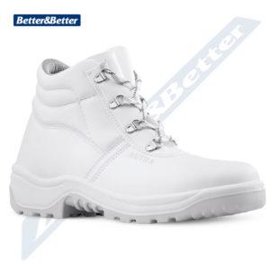 Fehér munkavédelmi bakancs élelmiszeripari munkákhoz. hideg elleni védelemmel.