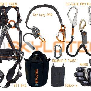 Skylotec zuhanásvédelmi készlet, heveder, pozícionáló kötél, karabíner, szerszámtartó, hordtáska, kötélhúzó
